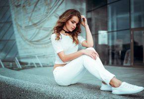 Девушка, Обувь, в белом, позирует, модель