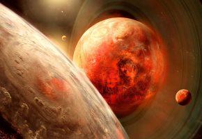 звезды, планета, спутник, кольцо, атмосфера, пространство