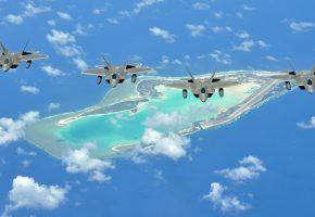 истребители, raptor, f-22, полет, остров, небо