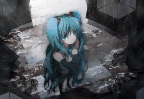 арт, вокалоид, vocaloid, hatsune miku, девушка, дождь, зонты