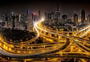 Шанхай, город, дороги, ночь, свет, Китай