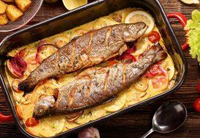 Обои рыба, морепродукты, помидор, fish, tomato, овощи, лимон