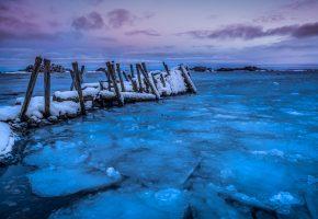 зима, лёд, берег, море