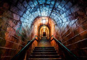 лестница, вверх, тунель, свет, перила