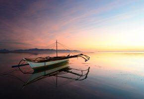 река, лодка, тишина, горизонт, гладь