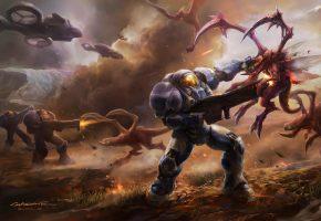 монстры, оружие, скафандр, корабли, арт, битва, броня, StarCraft II, транспорт
