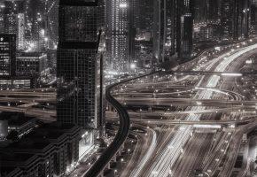 Обои город, ОАЭ, ночь, свет, Дубай, огни, дороги