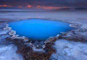 Исландия, горячие источники, плато, вода, даль
