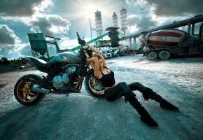 Хонда, байк, мотоцикл, девушка