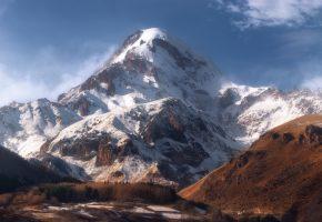 горы, снег, небо, долина, пейзаж