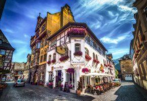 отель, Германия, улица, дома, здани