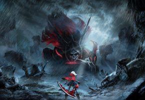 God Eater 2 Rage Burst, Аниме, девушка, воин, монстр, дождь, разруха