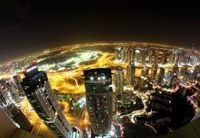небоскребы, высотные, освещение, дома, Dubai, высотки, огни, Дубай, ночь, ОАЭ, дороги
