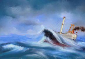 картина, волны, шторм, морской пейзаж, корабль