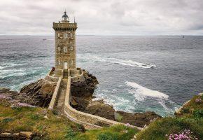 маяк, море, катер, волны, дорожка, скалы