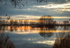вечер, река, осень, тишина, закат