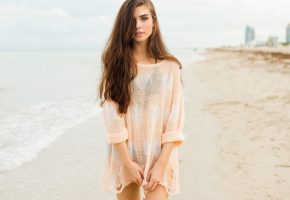 девушка, взгляд, пляж, море, бикини, волосы