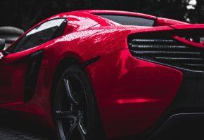Авто, спорткар, вид сбоку, колесо, капли