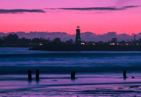 Маяк, залив, закат, небо