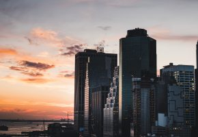 Манхэттен, нью-йорк, сша, вечер, здания
