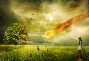 закат, поле, метеорит, девушка, ребёнок, небо, птицы