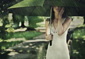 брюнетка, дождь, лето, зонт, девушка, платье, белое