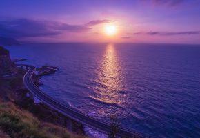 дорога, берег, море, закат, солнце, склон, вечер