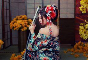 Girl, samurai, девушка, самурай, меч, спина, тату
