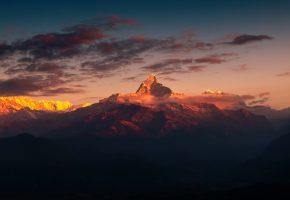 гора, вершина, облака, небо, природа, вечер