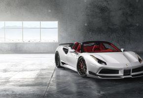 Ferrari, 488, белый, спорткар