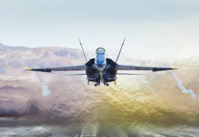Небо, истребитель, f a-18a hornet, скорость, взлёт, полет, Самолёт