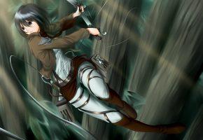 девушка, anime, art, взгляд, оружие, жест