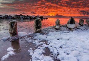море, закат, зима, лёд, пейзаж