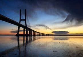 Вечер, Мост, закат, море, небо
