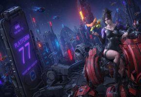 девушка, ночь, город, фантастика, робот, cyberpunk, Apocalypse