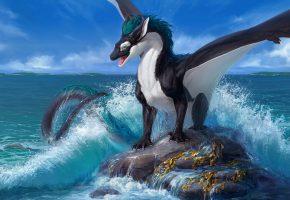 скала, океан, дракон, волны, брызги