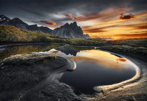 вода, пейзаж, горы, отражение, рассвет, утро