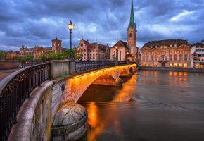 мост, река, здания, башня, дома, вечер, тучи, Швейцария, освещение, фонари, церковь, Цюрих