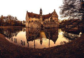 осень, замок, мост, озеро, листва