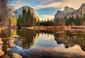 река, лес, горы, камни, деревья, красота, пейзаж