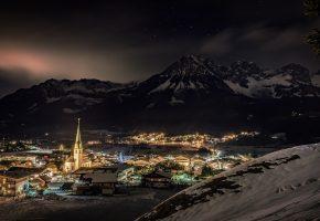 город, ночь, огни, дома, зима, горы