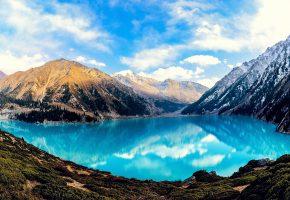 горное, озеро, отражение, облаков