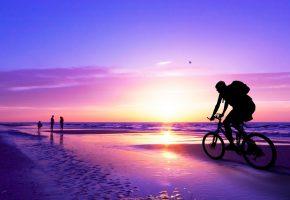 прогулки, по, берегу, моря