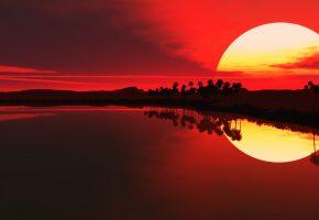 красота, море, солнце, пальмы, закат