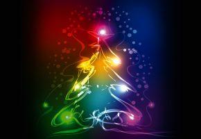 новый год, неоновая елка, разноцветные огни