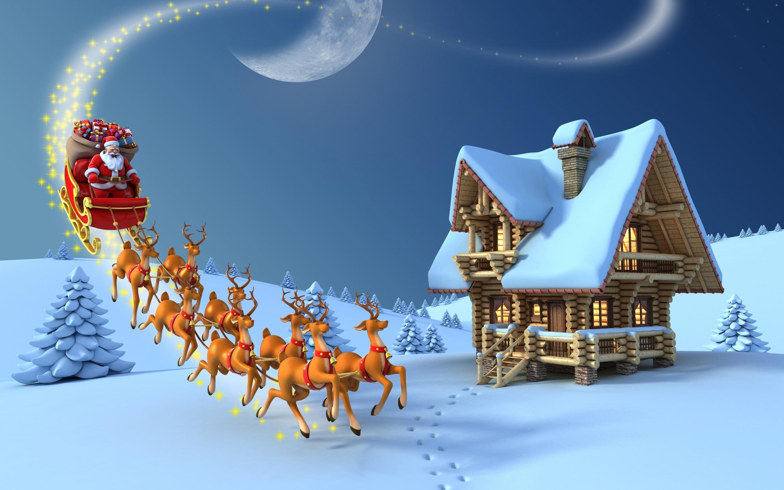 Обои рождество, дед мороз, новый год, елка, снег, олени ...
